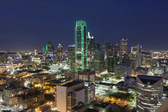 Dallas Downtown at night. View over the Dallas downtown district illuminated at night. Texas, United States Stock Image