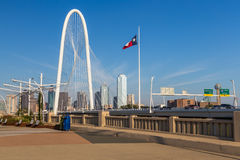 Dallas downtown skyline and Margaret hut hills bridge from Conti Royalty Free Stock Images