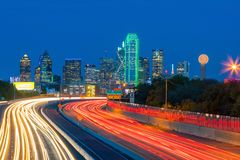 Dallas downtown skyline at twilight, Texas. USA royalty free stock images