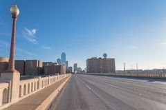 Dallas Downtown skylines. From Commerce Street Bridge under cloud blue sky Stock Image