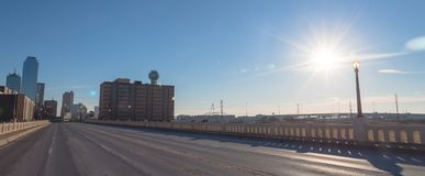 Dallas Downtown skylines. From Commerce Street Bridge under cloud blue sky. Panorama Stock Photo