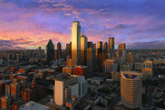 Dallas downtown view shot from reunion tower. Dallas City Skyline at dusk, sunset. Dallas Texas downtown, business center. Commercial zone in big city. Dallas royalty free stock photo