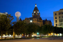 Dallas evening. Red museum and reunion tower in downtown Dallas , TX USA stock photography