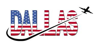 Dallas flag text with plane and swoosh illustration Royalty Free Stock Photos