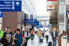 Dallas-Fort Worth International Airport. Passengers walking at Dallas-Fort Worth International Airport Stock Photo