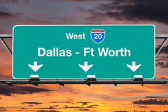 Dallas Ft Worth Interstate 20 West Highway Sign with Sunrise Sky Stock Image