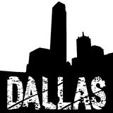 Dallas grunge text with skyline Royalty Free Stock Photo
