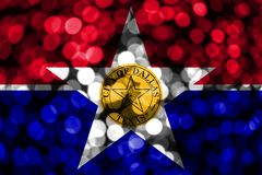 Dallas, Illinois abstract blurry bokeh flag. Christmas, New Year and National day concept flag. United States of America.  royalty free illustration