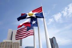 Dallas kennzeichnet Fliegen auf Fahnenmasten Lizenzfreie Stockfotos
