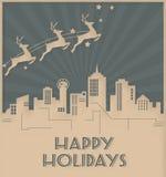 Dallas linia horyzontu wakacje karty art deco Bożenarodzeniowy styl royalty ilustracja