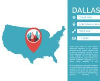 Dallas map infographic vector isolated illustration stock illustration