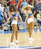 Dallas Mavericks cheerleaders. BARCELONA - OCTOBER 9: Dallas Mavericks cheerleaders dancing at FC Barcelona vs Dallas Mavericks friendly match, final score 99-85 Stock Image