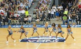 Dallas Mavericks cheerleaders. BARCELONA - OCTOBER 9: Dallas Mavericks cheerleaders dancing at FC Barcelona vs Dallas Mavericks friendly match, final score 99-85 Stock Photo