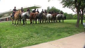 Dallas Mounted Police Horse Unit In Dallas Texas stock footage