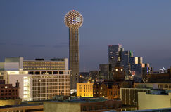 Dallas at night. Reunion tower and red museum in downtown Dallas at night Royalty Free Stock Photos