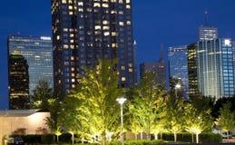 Dallas at night. TX USA stock photography