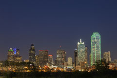 A View of the Skyline Dallas at Night in Texas Stock Photography