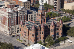 Dallas: Old Red Courthouse. Aerial view of the Old Red Courthouse in downtown Dallas is a fine example of the courthouse-building fervor that swept through Texas Stock Image