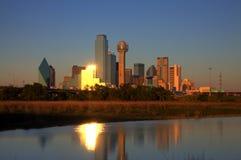 Dallas, orizzonte di TX al crepuscolo Fotografie Stock