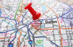 Dallas. Red push pin and a map of Dallas, Texas Royalty Free Stock Photo