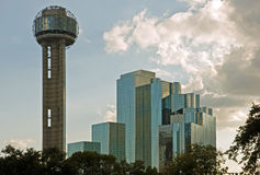 Dallas Reunion Tower and hotel. A view of the landmark Reunion Tower and the Hyatt hotel in downtown Dallas, Texas Stock Photo