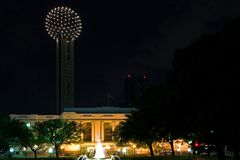 Dallas Reunion Tower at Night. Reunion Tower, Dallas, Texas with Union Station and fountain in foreground royalty free stock image
