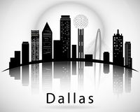Dallas silhouette, Texas United States of America. City Skyline Royalty Free Stock Photography