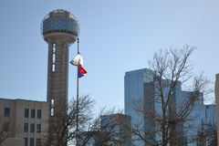 Dallas sky line. Sky line with reunion tower with revolving dome on top Stock Photos