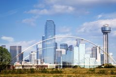 Dallas Skyline And The Margaret Mc-Dermott Bridge Royalty Free Stock Photography