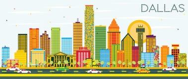 Dallas Skyline avec les bâtiments de couleur et le ciel bleu illustration de vecteur