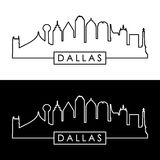Dallas skyline. Black and white linear style. vector illustration