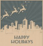 Dallas Skyline Christmas Holiday Card Art Deco Style royaltyfri illustrationer