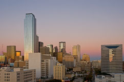 Dallas skyline at dusk. A view of the sunset at dusk reflected in the city skyline of Dallas, Texas Royalty Free Stock Images