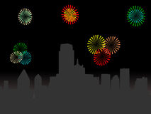 Dallas Skyline with fireworks. Dallas Skyline at night with fireworks illustration Stock Photo
