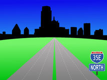 Dallas Skyline with interstate Royalty Free Stock Images
