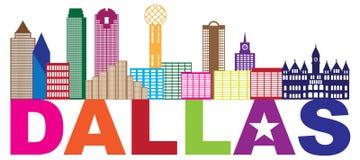 Dallas Skyline Lone Star Text-Farbillustration Lizenzfreie Stockfotos