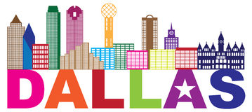 Dallas Skyline Lone Star Text-Kleurenillustratie vector illustratie