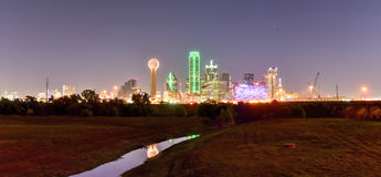 Dallas Skyline at Night. Downtown Dallas skyline at night from the Trinity River in Texas, USA Stock Image