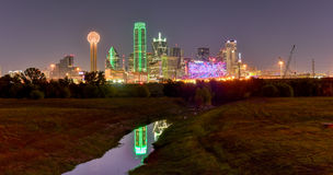 Dallas Skyline at Night. Downtown Dallas skyline at night from the Trinity River in Texas, USA Stock Photos