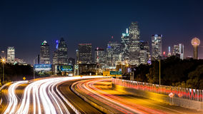 Dallas skyline by night royalty free stock image