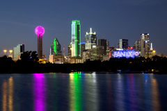 Dallas skyline night scenes Stock Photo