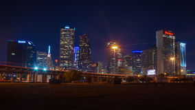 Dallas Skyline at Night. The Dallas skyline view from Deep Ellum Stock Photo