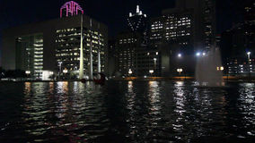 Dallas Skyline: Nightly Light reflections in water stock footage