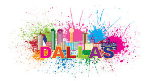Dallas Skyline Paint Splatter Color Vector Illustration. Dallas Texas City Skyline Outline Color Silhouette Panorama with Text and Paint Splatter Abstract Stock Photos