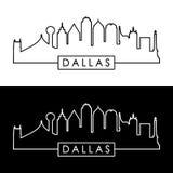 Dallas Skyline Style linéaire noir et blanc illustration de vecteur