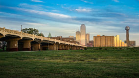 Dallas Skyline Sunset. The Dallas skyline view from Trinity Overlook park Royalty Free Stock Photo