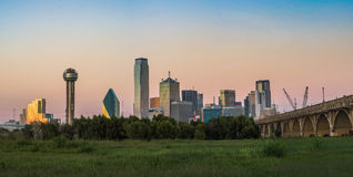 Dallas Skyline Sunset. The Dallas skyline view from Trinity Overlook park Stock Image