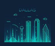 Dallas skyline trendy vector illustration linear Royalty Free Stock Photo