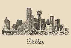 Dallas skyline vector illustration hand drawn Stock Photo