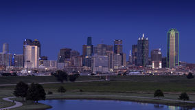 Dallas Skyline from the West after sunset Royalty Free Stock Photography